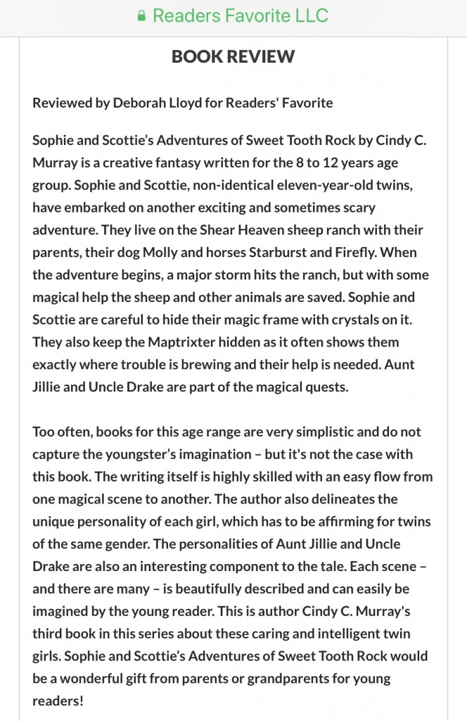 Sophie and Scottie's Adventures of Sweet Tooth Rock 5-Star Review